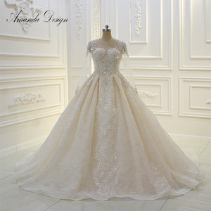 Image 1 - فستان زفاف عالي الجودة بأكمام طويلة مزين باللؤلؤ الشامبانيا بتصميم أماندا