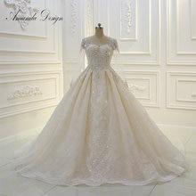 Amanda Design High Quality Long Sleeve Lace Applique Pearls Champagne Wedding Dress