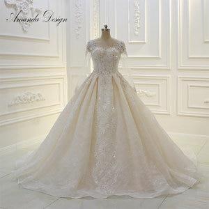 Image 1 - Amanda design de alta qualidade manga longa rendas apliques pérolas champanhe vestido de casamento
