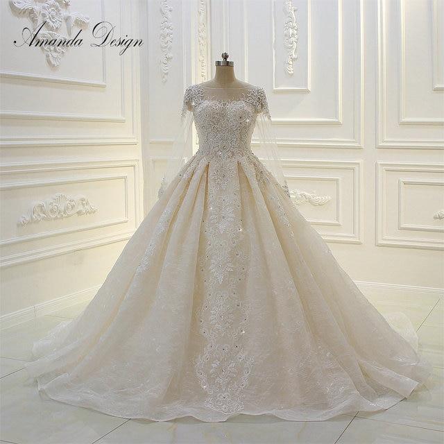 Amanda design de alta qualidade manga longa rendas apliques pérolas champanhe vestido de casamento