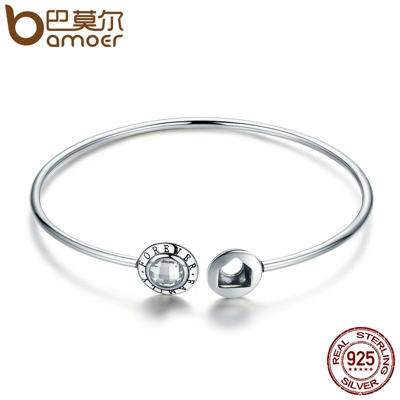 BAMOER Genuine 925 Sterling Silver Family Forever Clear CZ Geocentric Cuff Bangles Luxury Sterling Silver Jewelry SCB011 bamoer 925 sterling silver