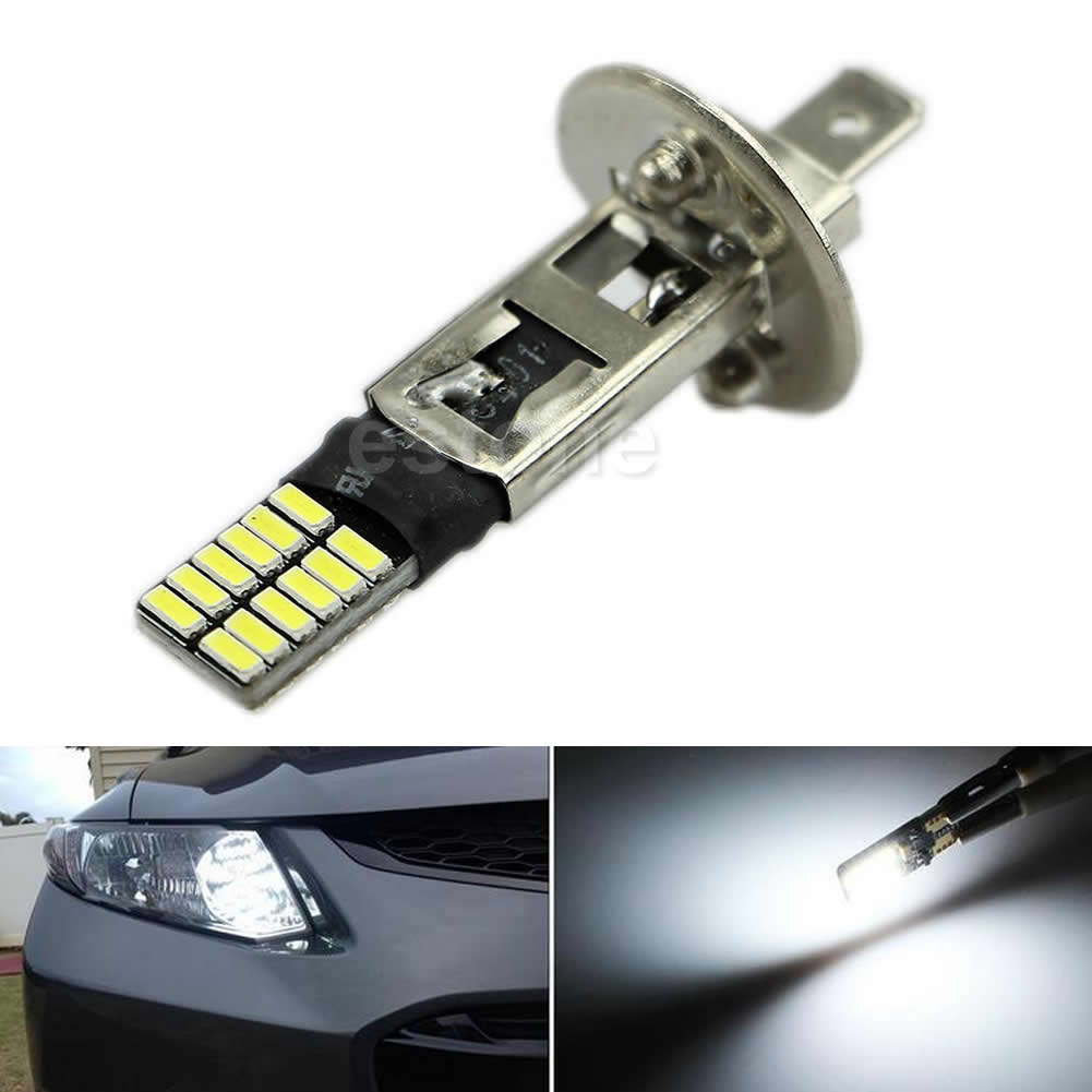 6500K HID White 24-SMD H1 LED Replacement Bulbs For Fog Lights Driving Drop Ship No22