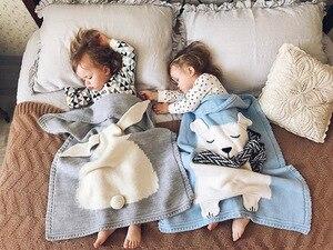 Image 2 - หมีการ์ตูนฟ็อกซ์กระต่ายสัตว์น่ารักผ้าห่มเด็กโยนโซฟา/Bed/Plane Travel Plaidsร้อนจำกัดปิกนิกผ้าขนสัตว์