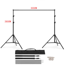 3M X 2.8M Adjustable Muslin Background Backdrop Support Stand Kit  PHOTO STUDIO BACKGROUND STAND Carrying Bag 4PCS Clamps 200cm 300cm grey background backdrop cloth with 2 6m 3m 8 5ft 9 8ft photo background backdrop stand support kit