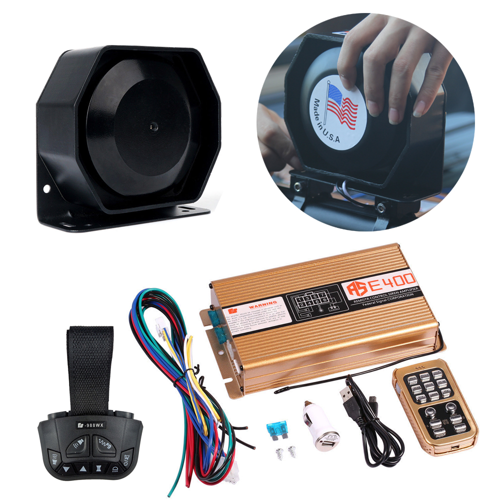 Auto Vehicle Horns 2018 200W Alarm 8 Sound Tone Emergency Speaker Police Fire Siren Double Remote Warning Loudspeaker 120-130dB