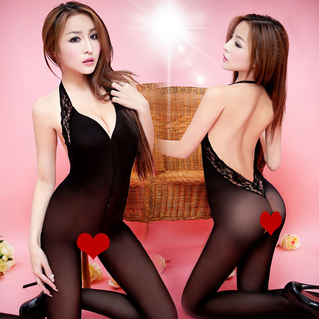 2017 Bodysuits Fashion summer style Black Sexy Fun coveralls Sexy stockings Lace halter open crotch stockings for Women Tights