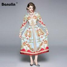 купить Spring Dress Women Long Sleeve Luxury Print Designer Runway Dresses 2019 Women High Quality Vintage Midi Dress Robe Femme по цене 2029.12 рублей