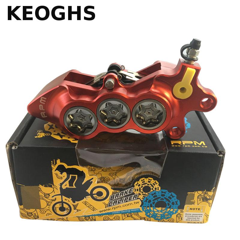 KEOGHS Motorcycle Caliper 6 Piston Cnc Aluminum Hydraulic Disc Brake For Yamaha Scooter Honda Kawasaki Suzuki 40mm Center keoghs motorcycle hydraulic brake system 4 piston 100mm hf2 brake caliper 260mm brake disc for yamaha scooter cygnus x modify
