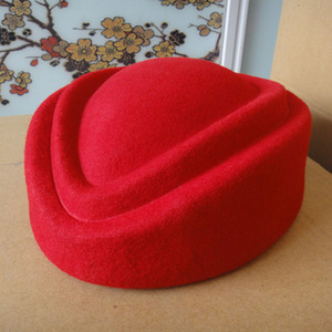 Image 3 - Fancy Elegant Pure Wool Cap Air Stewardess Hat 7cm Height Solid Pillbox Hat Cocktail Fascinatot Beret Hat Base Millinery
