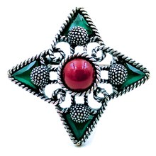 Gorgeous Antique Wire Scroll Red Stone Domed Green Cross Brooches Silver Tone Opens  Four Point Star Pin Women Religious Jewelry