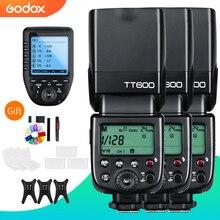 3x godox tt600 built in receber câmera flash speedlite com transmissor xpro para canon nikon sony fuji olympus pentax câmera