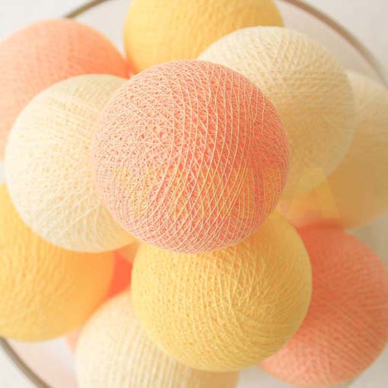 20 p Creamy yellow Orange Baumwolle Bälle LED String Fairy Lichter Weihnachten Kranz Urlaub Lichter guirlande lumineuse luces lampjes