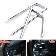 цена на 2PCS/PAIR ABS Chrome Dashboard AC Console Air Vent Cover Trim Frame Decoration For 5 Series F10 F18 2011-2014 Car Styling
