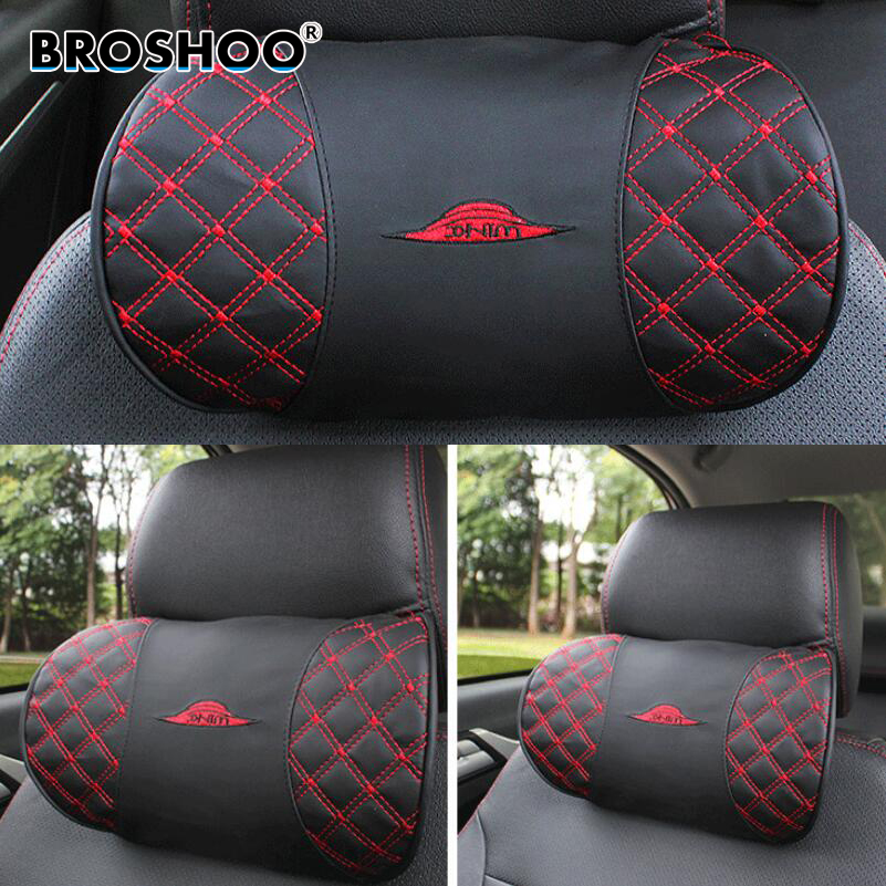 BROSHOO 1 Piece Auto Kord Red Wine Headrest Series Neck Seat Pillow Bone Pillows High Quality Gifts Car Styling Free Shipping