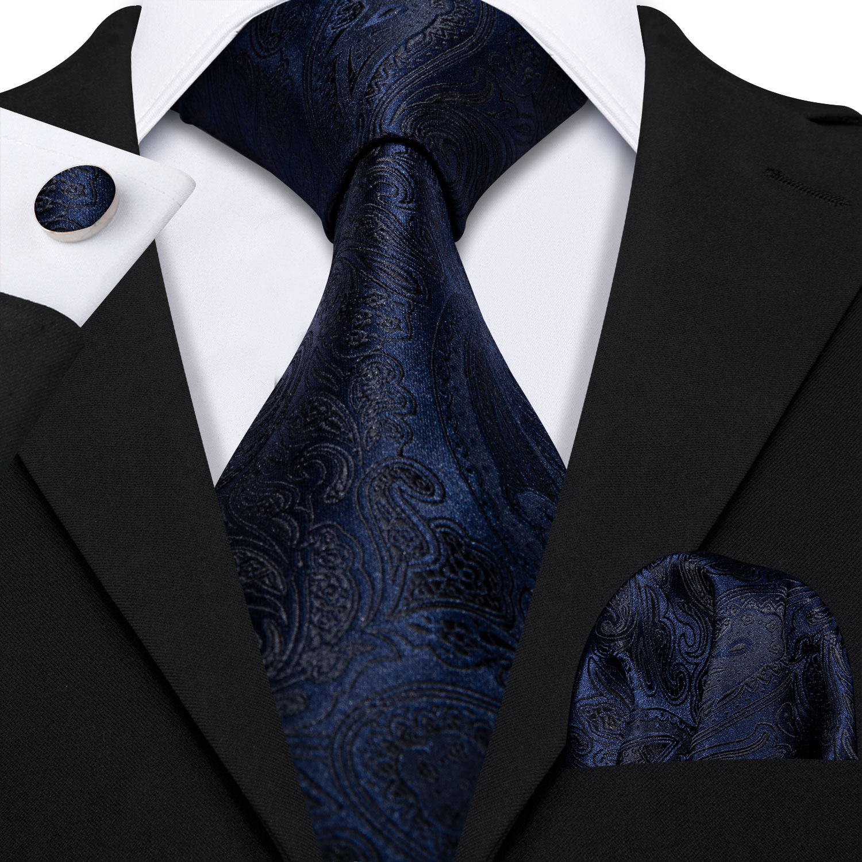 Men's 100% Silk Ties For Men Dark Blue Necktie Handkerchief Paisley Jacquard Woven Blue NeckTie Gift Box Set Barry.Wang LS-5149
