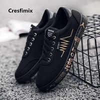Cresfimix men casual high quality spring canvas lace up shoes male cool plus size comfortable shoes chaussures pour hommes b3081
