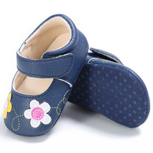 Toddler Baby Girl Flower Crib Shoes Newborn Prewalker Non-slip Kids Soft Sole Shoes  0-18M