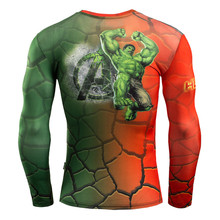 Sports Long Sleeve T Shirt 3D Print Avengers Super Hero Banner Hulk Cosplay Costume Fashion Men Fitness Compression Shirt