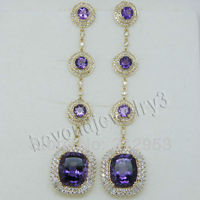 Fashion Women Jewelry Solid 14Kt Yellow Gold Natural Purple Amethyst Earrings E148A
