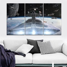 Star Wars Devastator Ship Painting 3 Piece Modular Style Picture High Quality Canvas Print Type Home Decor Wall Artwork Poster