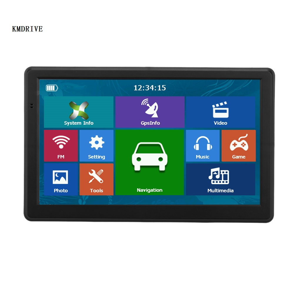 KMDRIVE Car GPS Players Navigation Bluetooth Satnav 7--Inch AV-IN FM HD 256/8GB MP3/MP4 title=