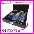 68 pcs lente pequeno ensaio Set Ophthalmic caixa de lente óptica aro de Metal brilhante capa de couro embalado 68L-JS