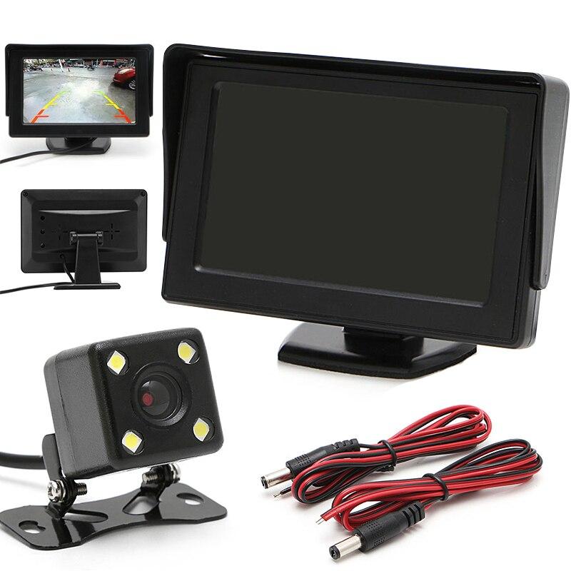 New Car Rear View Kit Digital 4.3 Car TFT LCD Monitor DC 12V Cars Rear View Monitor+Night Vision Backup Revers Camera