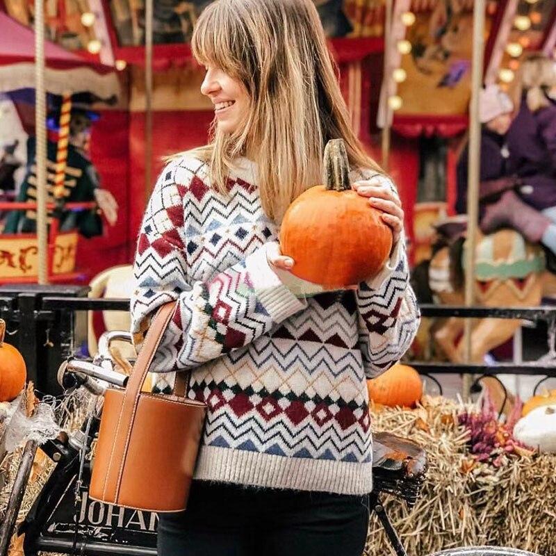 Kobiety wełny placu kratę Patchwork sweter jesień i zima Pull prezent w Pulowery od Odzież damska na  Grupa 1