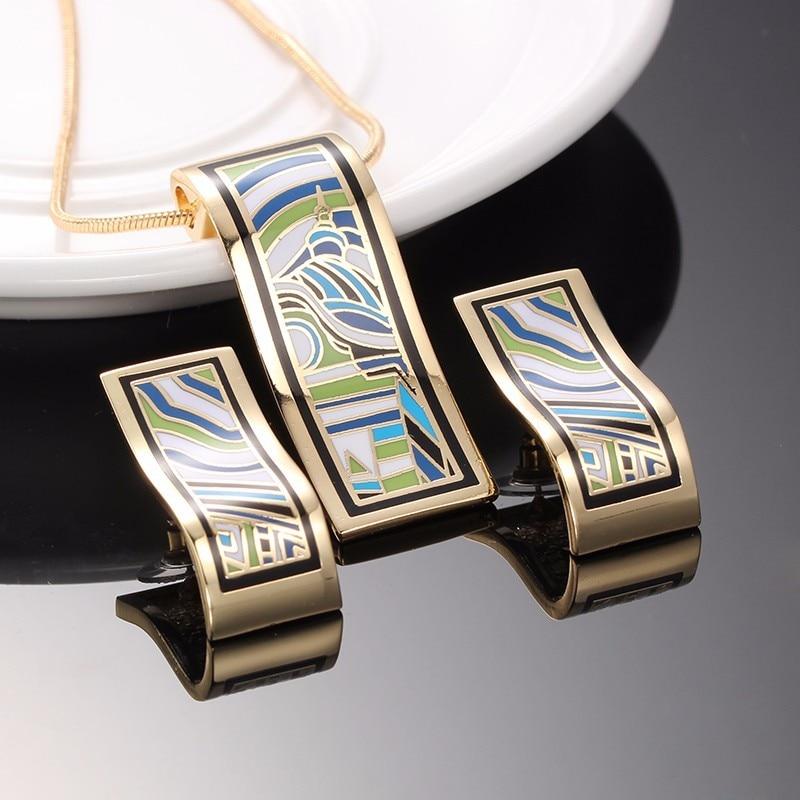 R&X Fashion 22 Joyas Shinning Bridal Party Necklace/earrings Collier Mariage Dubai New Anniversary Enamel Women Jewelry Set Gift