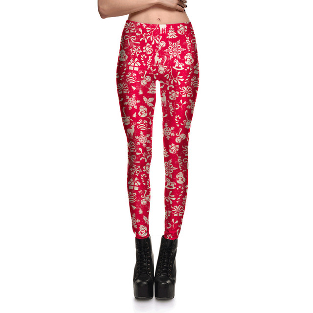 Women Red Graffiti Christmas Print Slim Leggings For Woman New Plus Size Fashion Xmas Printed Active Skinny Pencil Pants S-4XL
