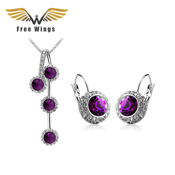 Mineral Kristal Fashion Kalung Anting Set Perhiasan Bridal Wedding Jewelry Untuk Wanita CS12