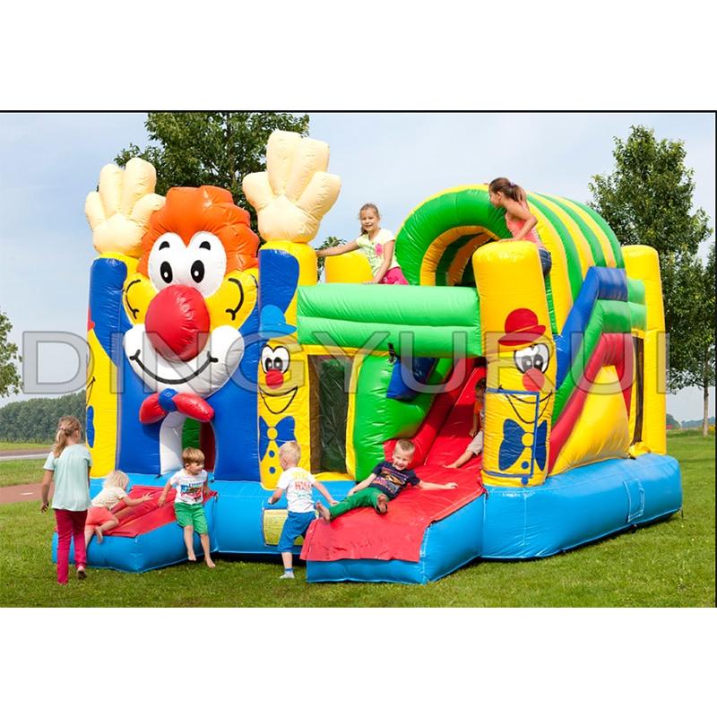 Comercial ao ar livre palhaço inflável casa bouncer corrediça inflável china em combinação de slides para crianças