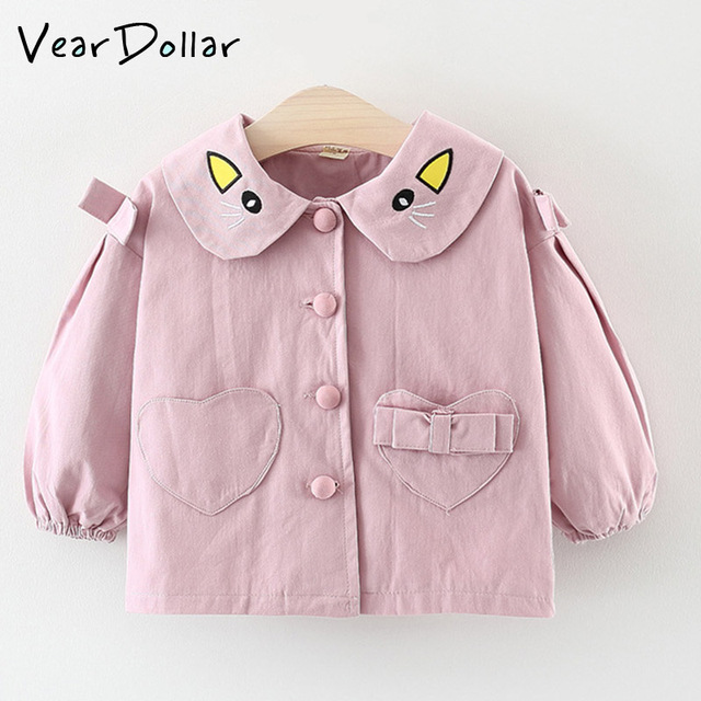 acb433be822 VearDoller Girs Coats outwear New Arrival Carton Collar Embroidery Button  Heart Pocket Patchwork Coats Solid Long Sleeve Tops