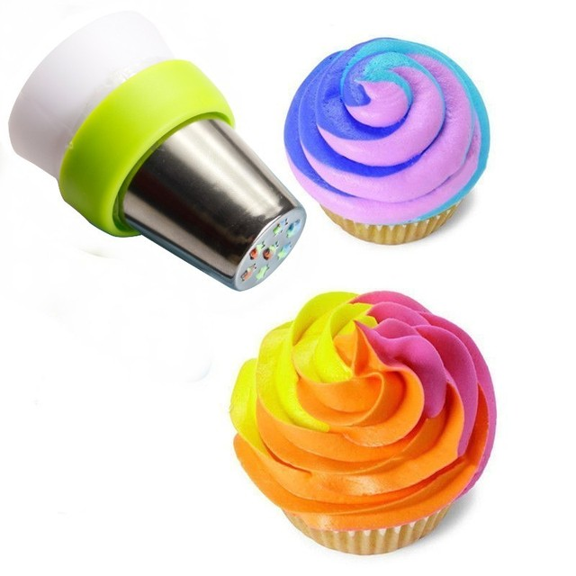 1 Pc 3-Colore Icing Piping Bag Russo Ugello Convertitore Accoppiatore Torta di C