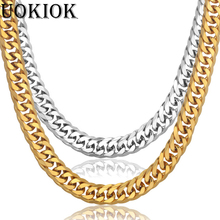 Mens Gold Necklace Chains Stainless Steel Gold Color 14MM Thick Curb Cuban Link Chain Necklace For Men Hip Hop Jewelry Wholesale new men s hip hop necklace gold stainless steel curb cuban link chain cross pendant necklace for men jewelry 11mm 24inch dn05
