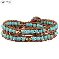 KELITCH Jewelry 1Pcs Double Layers Turquoise Beads Handmade Bracelet For Women Gifts AZ2W 1506