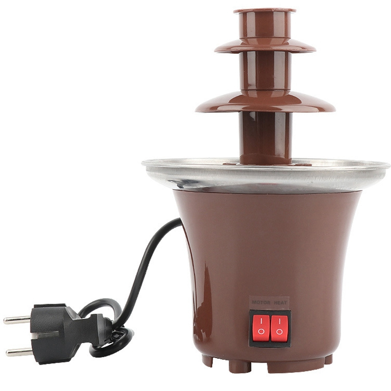 New Mini Chocolate Fountain Three Layers Creative Chocolate Melt With Heating Fondue Machine Diy Melt Waterfall Pot Melting To