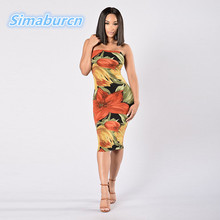 2017 Summer Flowers Print Multicolor Dress Women Backless Sexy bodycon Dresses Strapless Club Fashion Female Sheath Robes