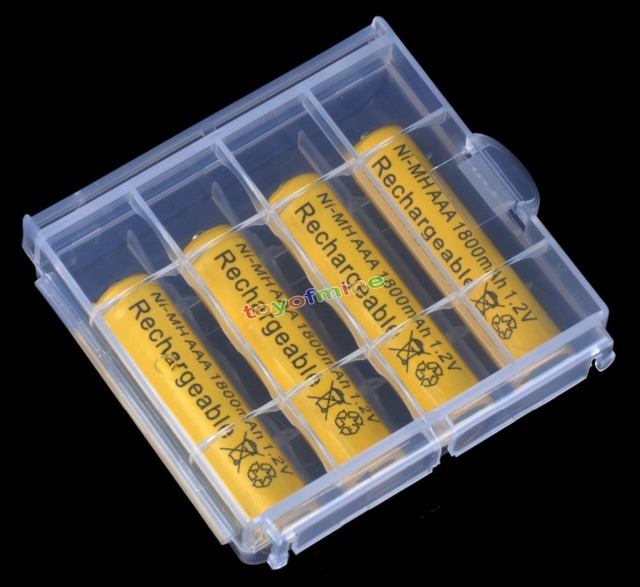 4/8/12/16/20pcs AAA 1800mah NiMH 1.2v 3A  Rechargeable Battery with Plastic Battery Storage Case Box Holder yellow