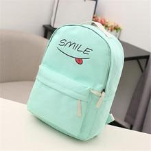 2016 New Fashion Canvas Backpack Rucksack Funny Smiling Face New Schoolbags Schoolbag Student Book Bag Mochila Feminina