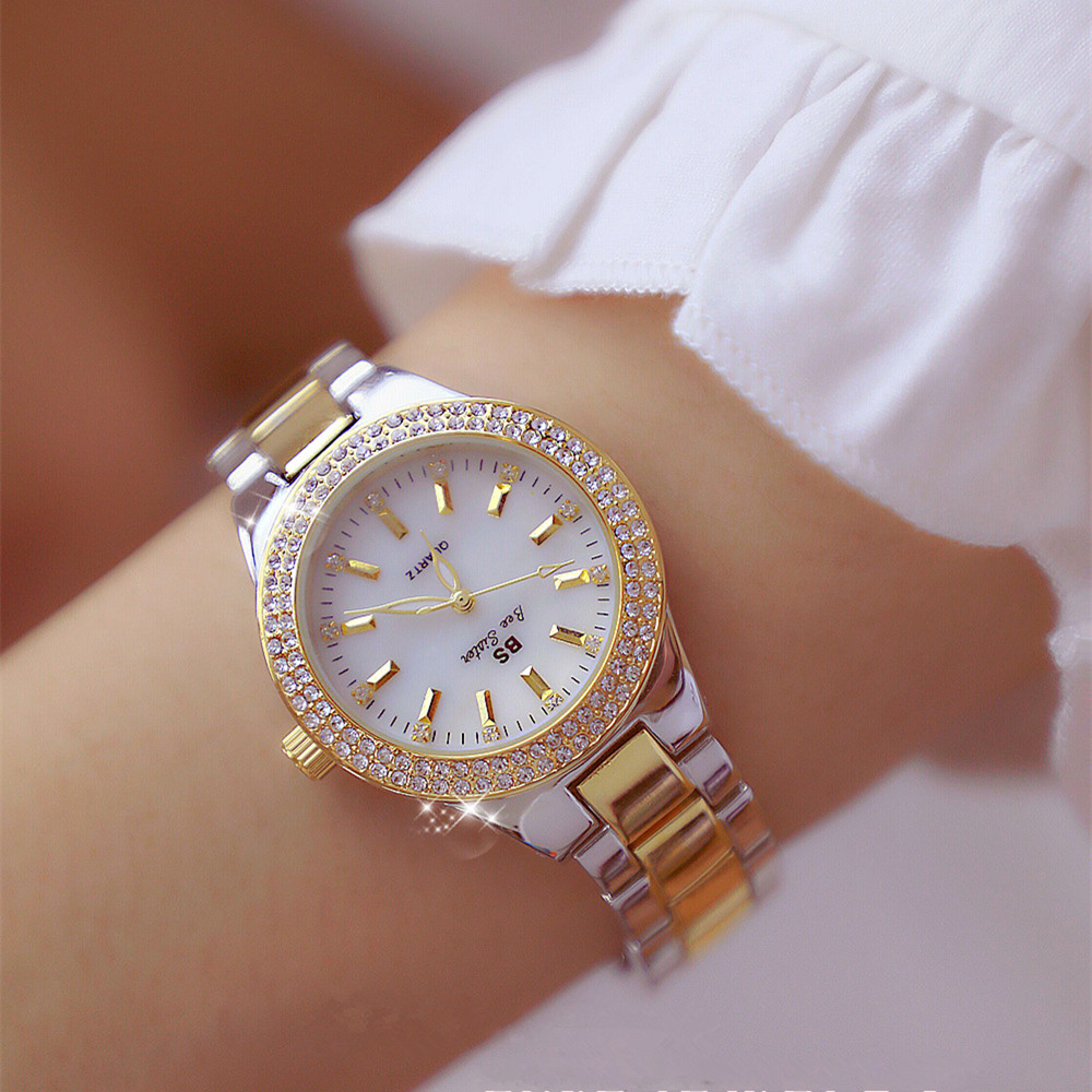 2018 Luxury Brand lady Crystal Watch Women Dress Watch Fashion Rose Gold Quartz Watches Female Stainless Steel Wristwatches(China)