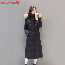 Winter Women Down Jacket 2017 Long Outerwear High quality Fur collar Hooded Overcoat Warm Female White duck down Parkas ll485