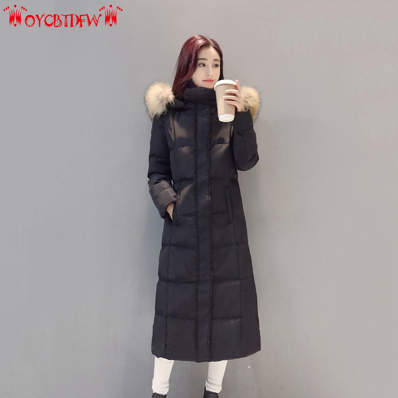 Winter Women Down Jacket 2018 Long Outerwear High quality Fur collar Hooded Overcoat Warm Female White duck down Parkas ll485