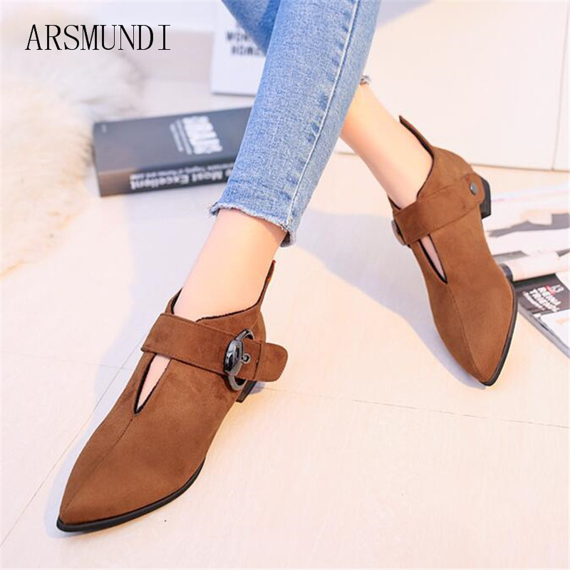 ARSMUNDI women's boots 2018 Autumn and winter new low Booties buckle flock pointed toe square heel short plush women shoes L477 sexy women s short boots with square buckle and pointed toe design