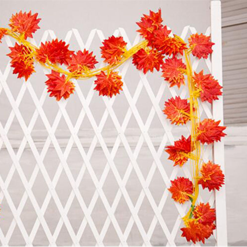 Image 5 - Hot Selling!! 2.3m Windowill Autumn Leaves Garland Maple Leaf Vine Fake Foliage home garden Decoration-in Party DIY Decorations from Home & Garden