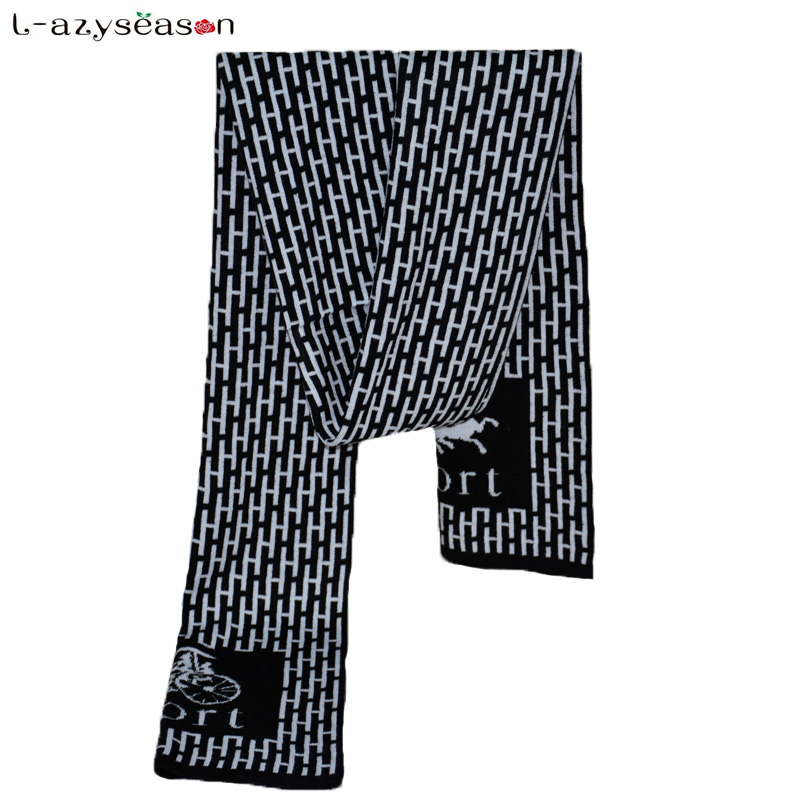2018 Classic British Style Luxury brand Scarf Mens Winter Warm Cotton Letter Business knitted thick Casual Scarves for man
