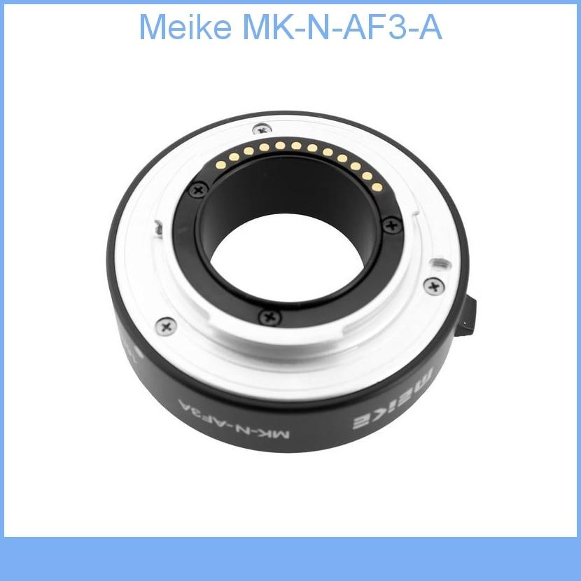 Meike MK-N-AF3-A Metal Auto Macro Focus AF Extension Tube for Nikon 1 Mount Camera J1 J2 J3 V1 V2 macro extension tube for sony e mount ac ms silver grey