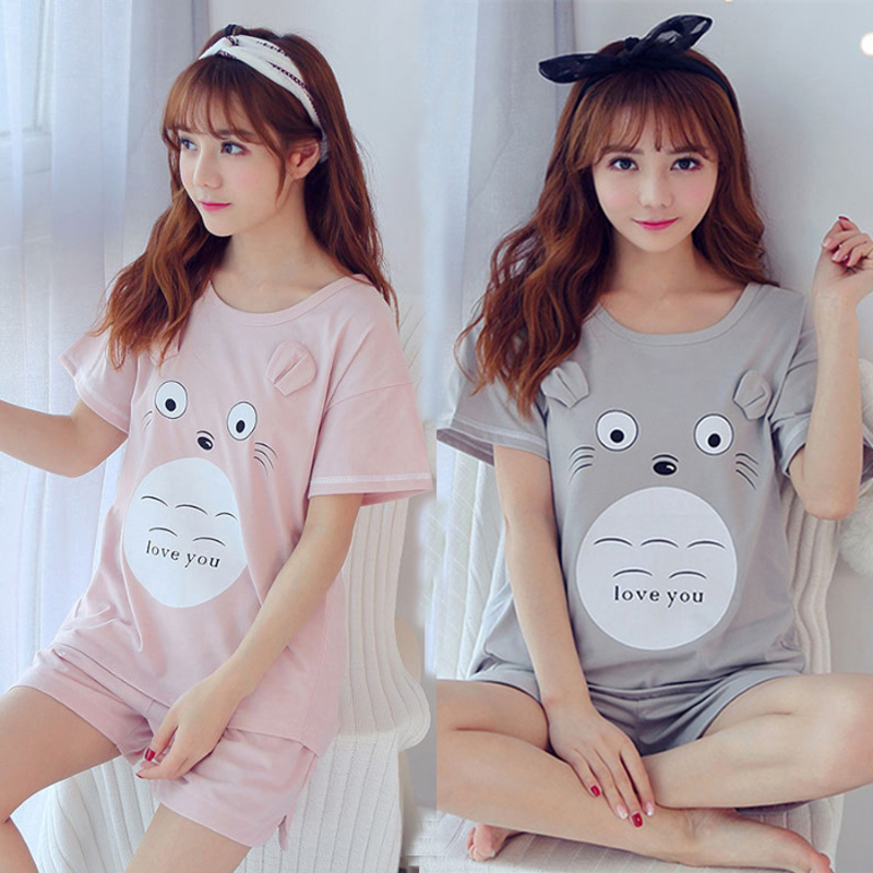 Summer pijamas Women Comfortable Cute   Pajama     Set   Girl cartoon Print Pyjama   Set   Short Sleeve Sleepwear Suit Women Nightshirt   Sets