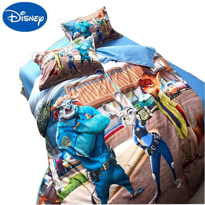 Disney cartoon Zootopia ensemble de literie impression 3d doux ponçage housse de couette fille garçon chambre 600TC coton couvre-lits reine simple jumeau