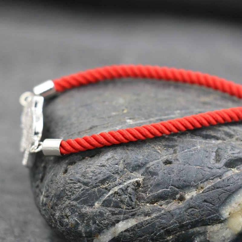 BPPCCR マイクロジルコン Aaa シルバーラッキー象のブレスレット赤糸ロープワックスライン文化ブレスレット恋人の宝石類のギフト